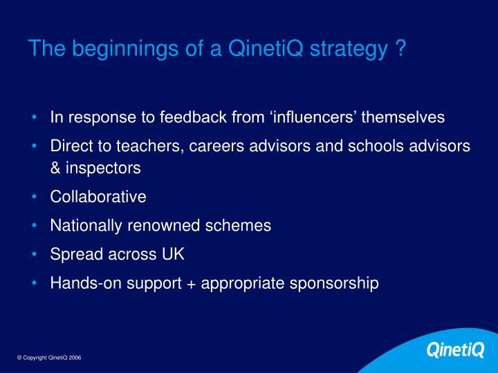 The beginnings of a QinetiQ strategy ?