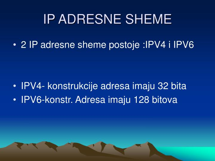 IP ADRESNE SHEME