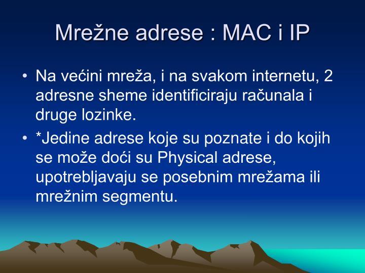 Mrežne adrese : MAC i IP