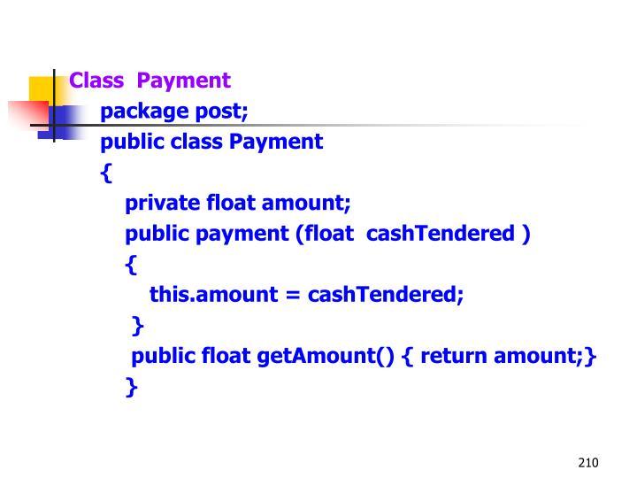 Class  Payment