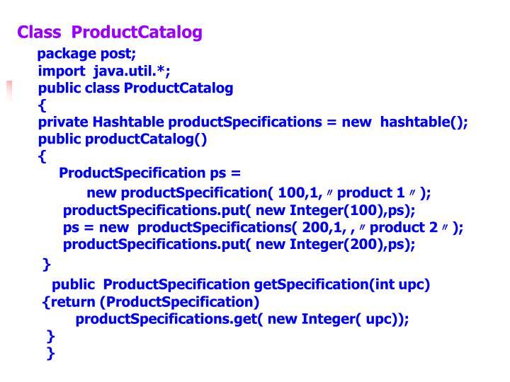 Class  ProductCatalog