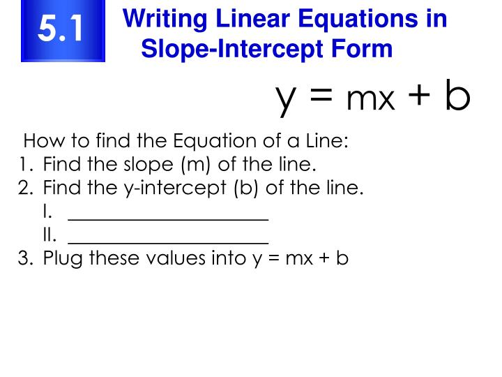 Writing Linear Equations in Slope-Intercept Form