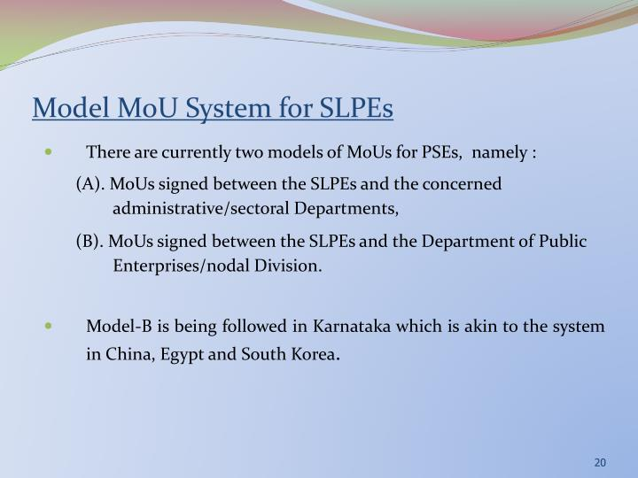 Model MoU System for SLPEs