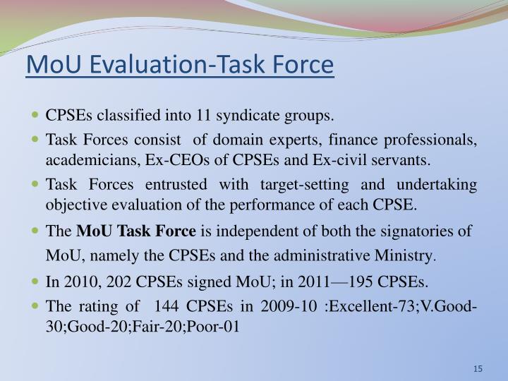 MoU Evaluation-Task Force