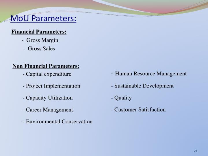 MoU Parameters:
