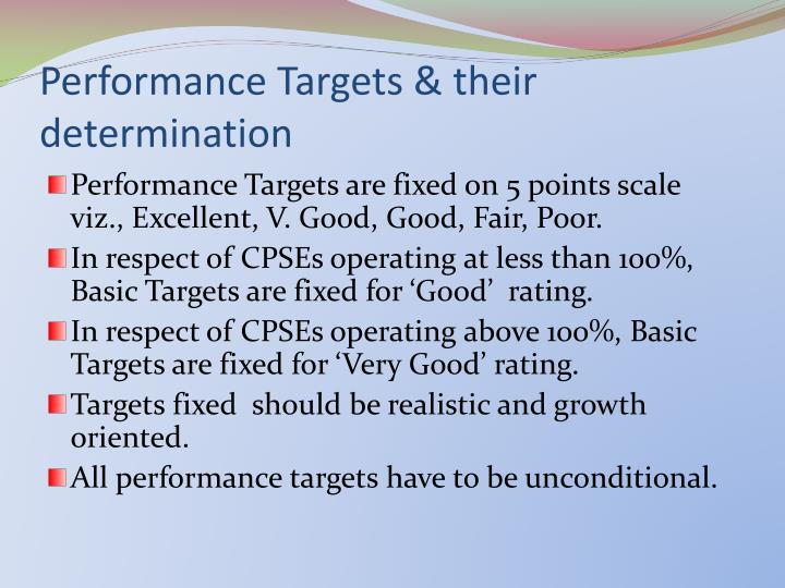 Performance Targets & their determination