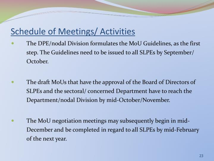 Schedule of Meetings/ Activities