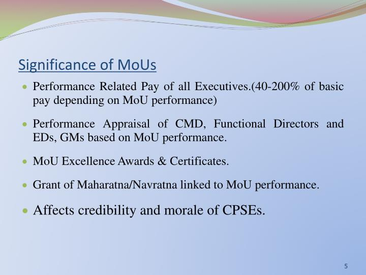 Significance of MoUs