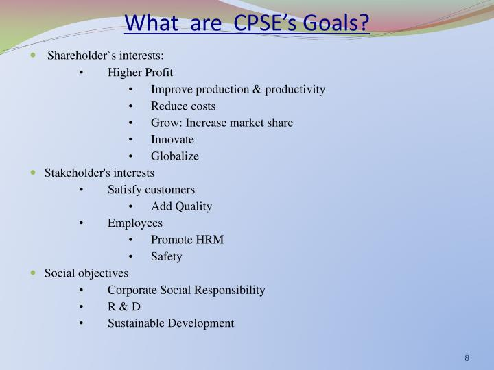 What  are  CPSE's Goals?