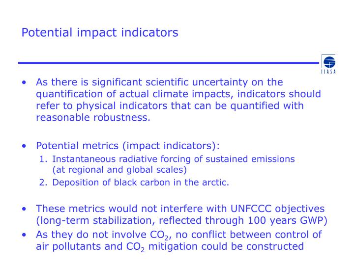 Potential impact indicators