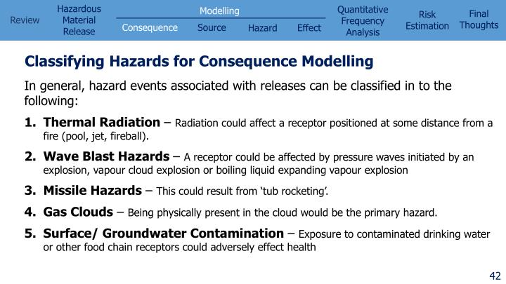 Classifying Hazards for Consequence Modelling