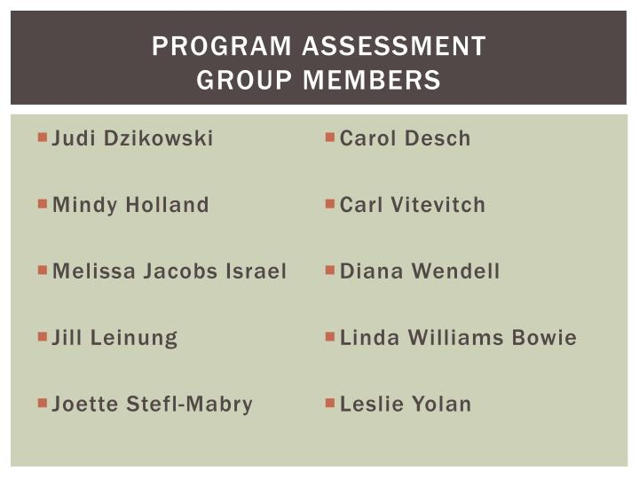 Program assessment group members