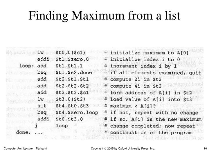 Finding Maximum from a list