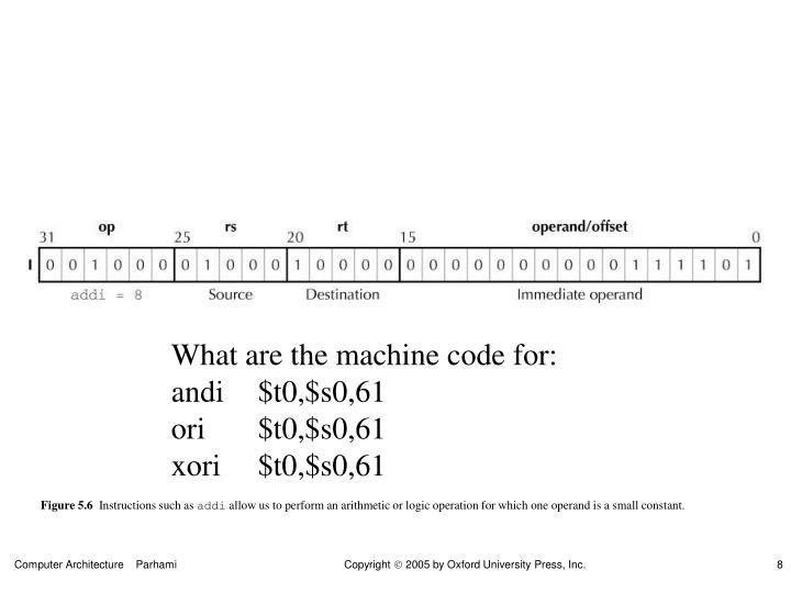 What are the machine code for: