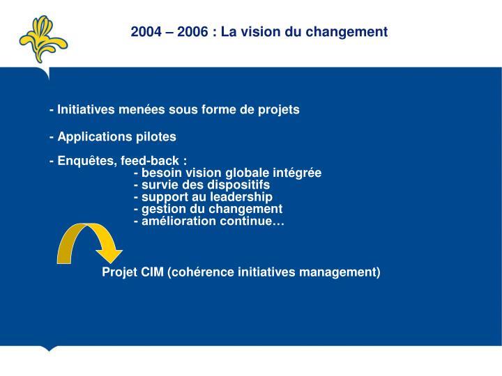 2004 – 2006 : La vision du changement