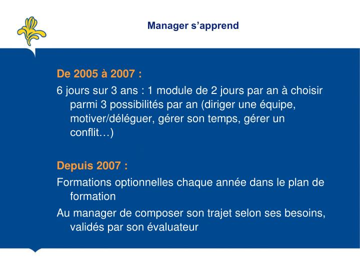 Manager s'apprend