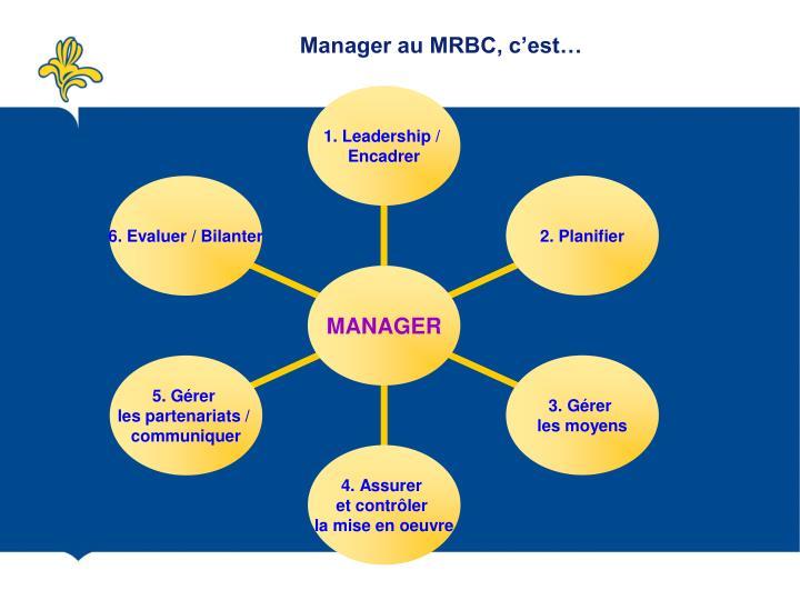 Manager au MRBC, c'est…