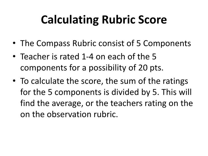 Calculating Rubric Score