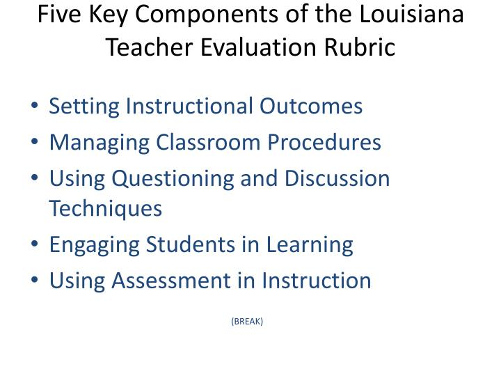 Five Key Components of the Louisiana Teacher Evaluation Rubric
