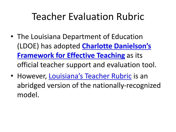 Teacher Evaluation Rubric