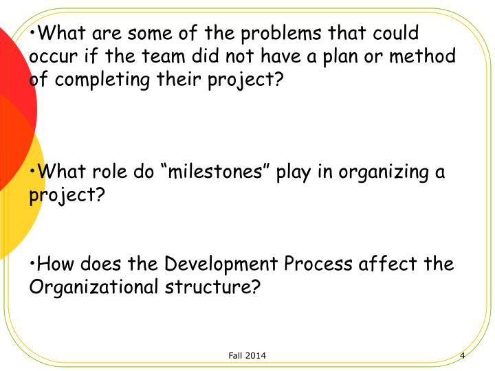 What are some of the problems that could occur if the team did not have a plan or method of completing their project?