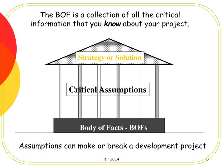 The BOF is a collection of all the critical information that you