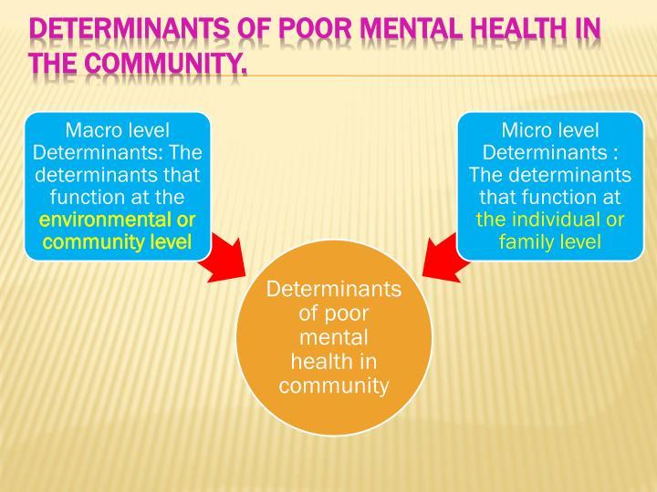 Determinants of poor mental health in the community.