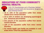 indicators of poor community mental health