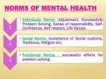 norms of mental health