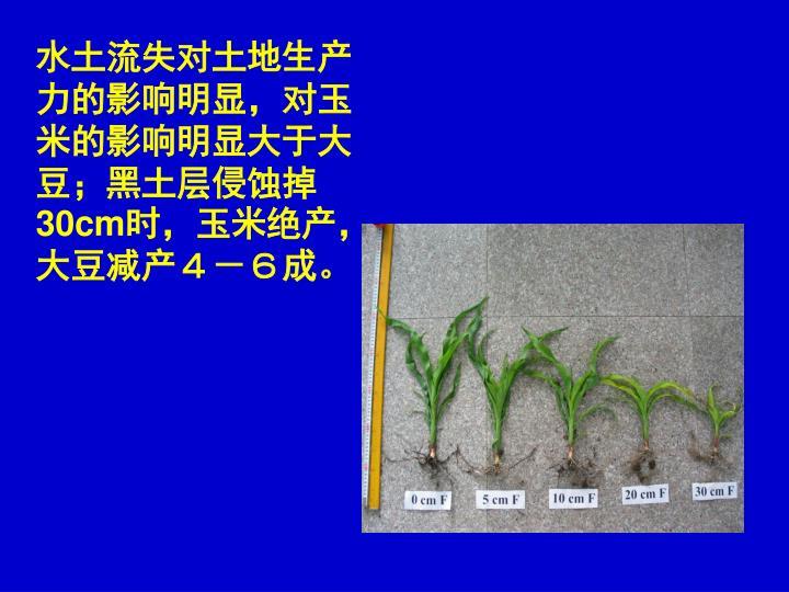 水土流失对土地生产力的影响明显,对玉米的影响明显大于大豆;黑土层侵蚀掉