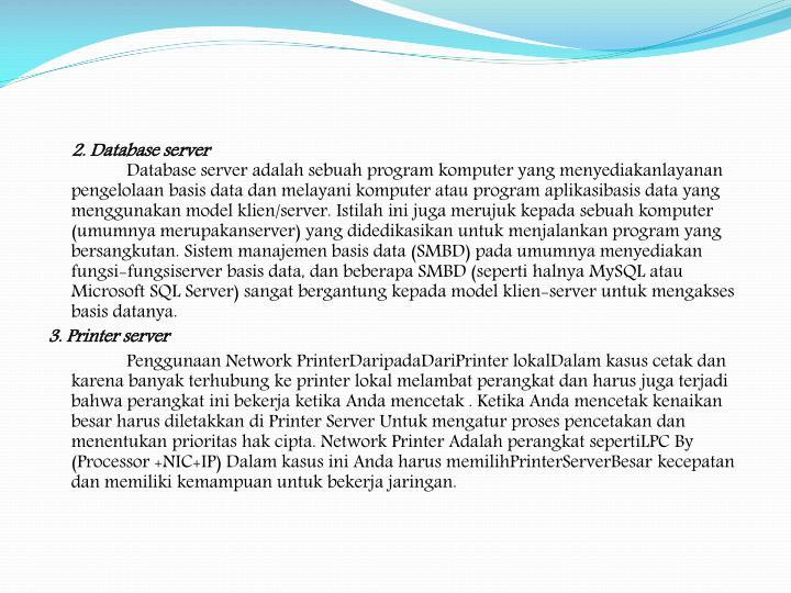 2. Database server