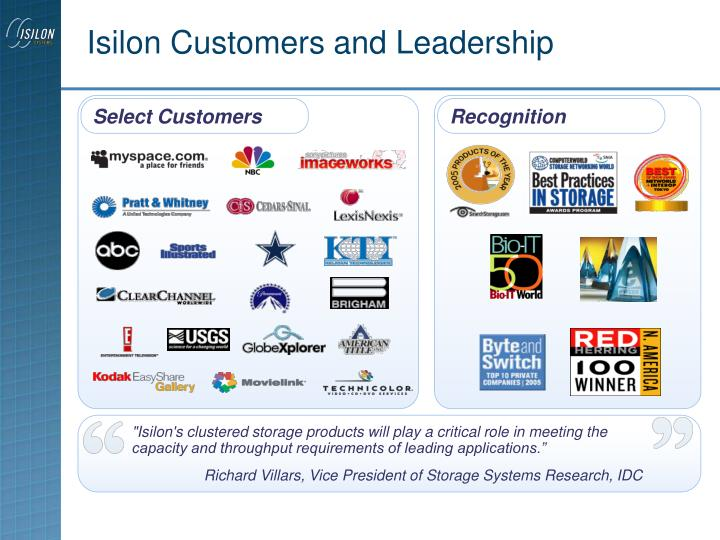 Isilon Customers and Leadership