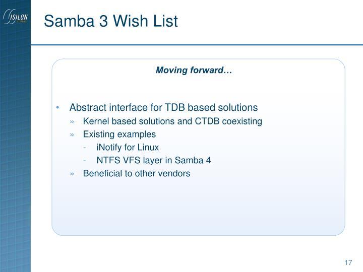 Samba 3 Wish List