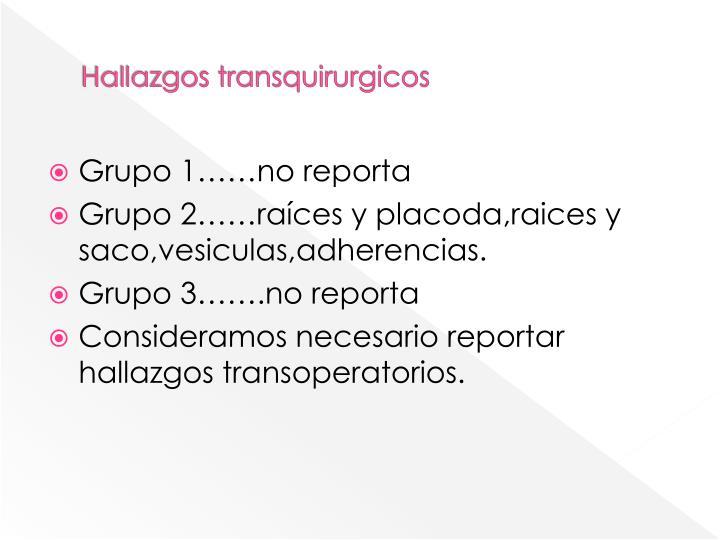 Hallazgos transquirurgicos