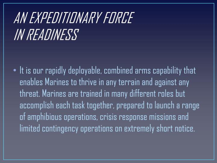 AN EXPEDITIONARY FORCE