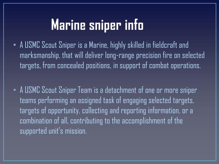 Marine sniper info