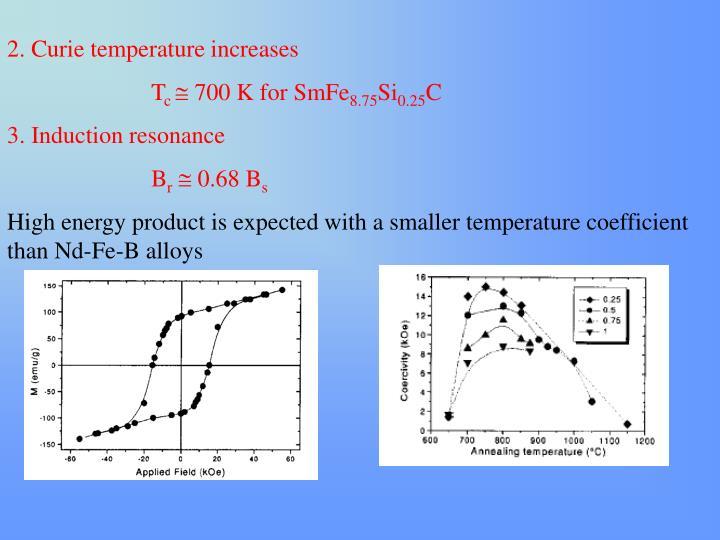 2. Curie temperature increases