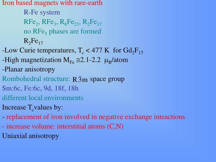 Iron based magnets with rare-earth