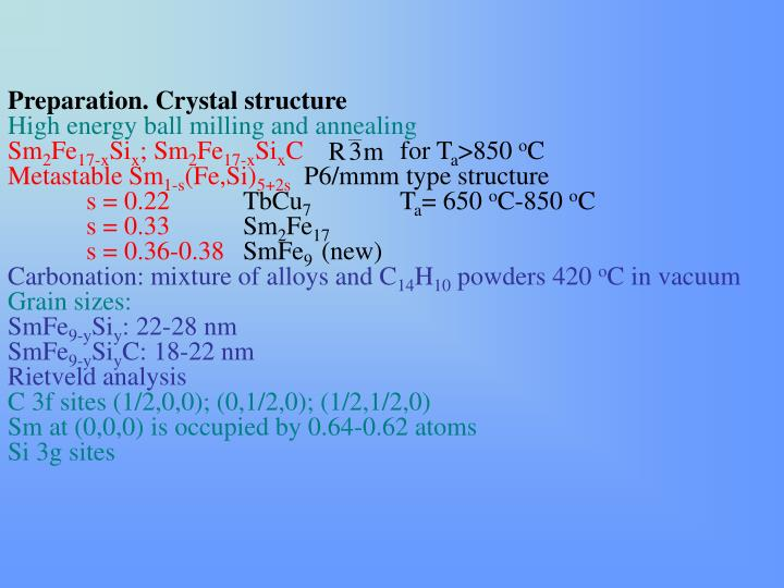 Preparation. Crystal structure