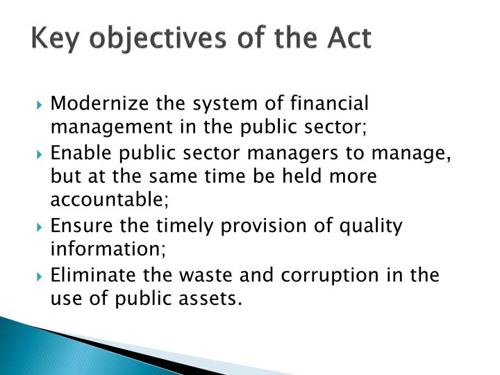 Key objectives of the Act