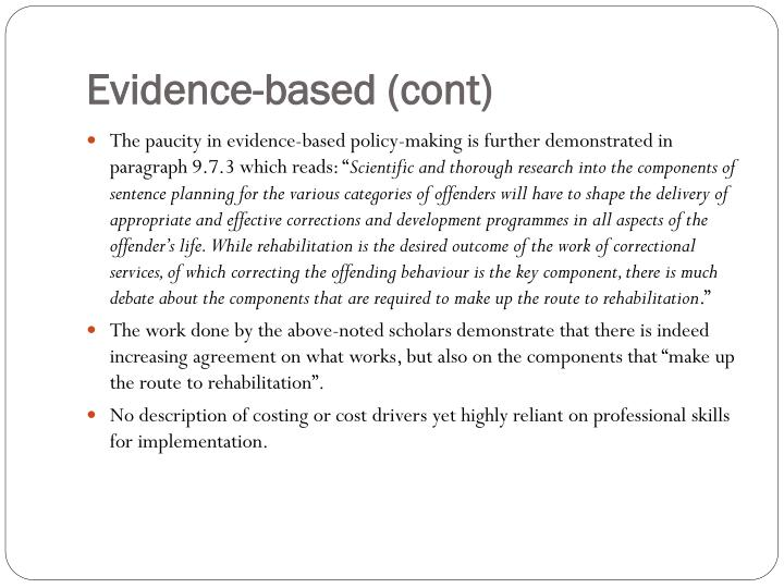 Evidence-based (cont)