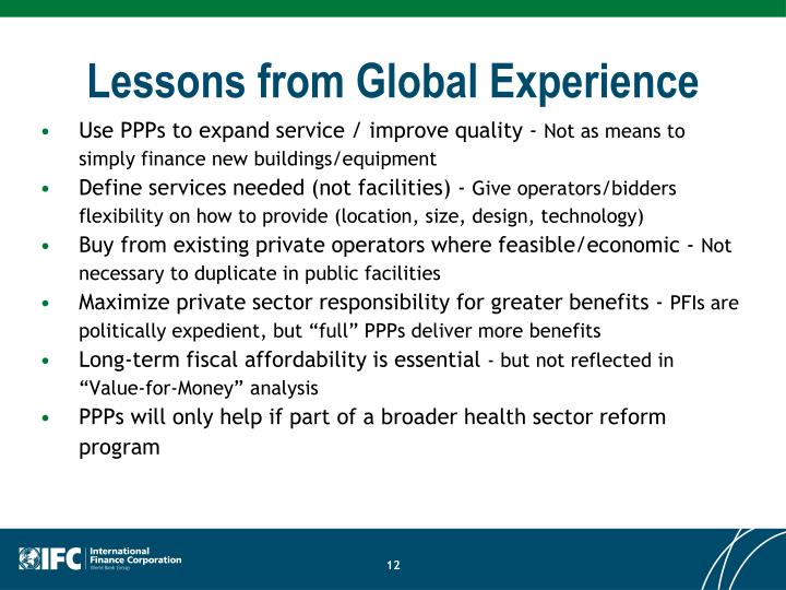 Lessons from Global Experience