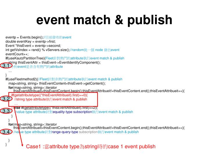event match & publish