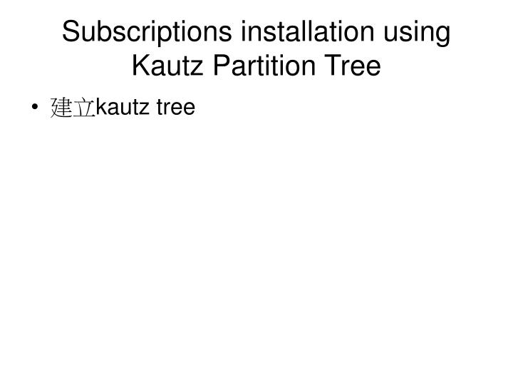 Subscriptions installation using Kautz Partition Tree
