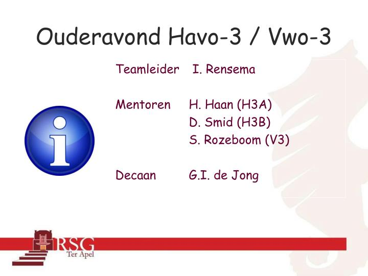 Ouderavond Havo-3 / Vwo-3