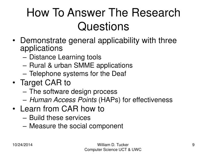 How To Answer The Research Questions
