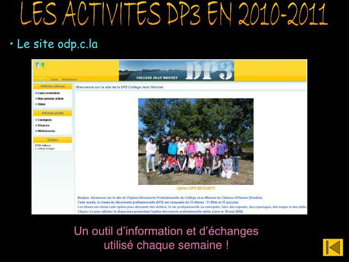 LES ACTIVITES DP3 EN 2010-2011
