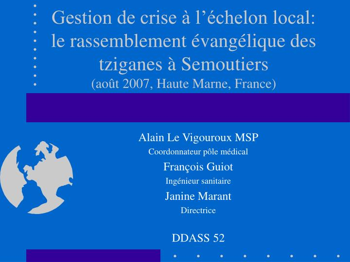 Gestion de crise à l'échelon local: