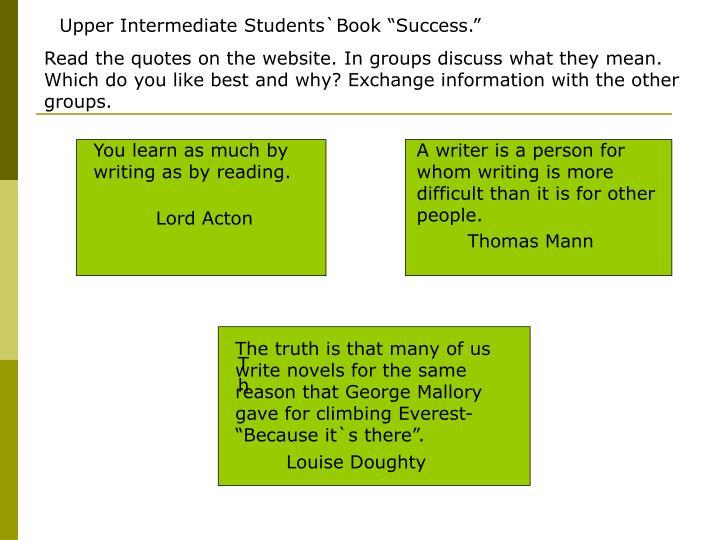 """Upper Intermediate Students`Book """"Success."""""""