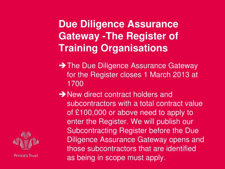 Due Diligence Assurance Gateway -The Register of Training Organisations
